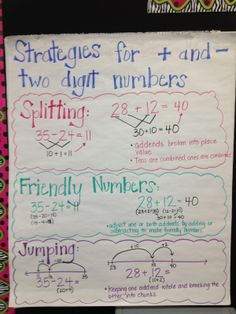 + - strategies Math Coach's Corner: Anchor Charts for Addition and Subtraction Strategies Lots of great info for teaching math and free printouts too. Mental Math Strategies, Subtraction Strategies, Math Resources, Addition Strategies, Mental Maths, Math Subtraction, Math Charts, Math Anchor Charts, Addition Anchor Charts