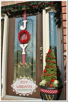 Joy Wreath - Mod Podge on letters with sparkly white @Martha Stewart Crafts glitter by @Plaid Crafts. So easy!
