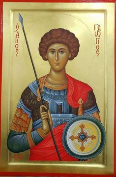 foto van N Theologhia Baba. Byzantine Icons, Orthodox Christianity, Saint George, Orthodox Icons, Mona Lisa, Saints, Baseball Cards, Artwork, Painting