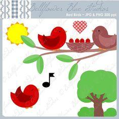 Red Birds Digital Clipart