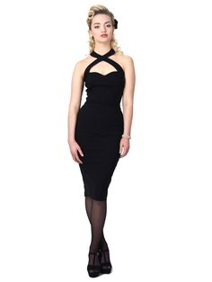 Collectif Penny 1950's Pencil Dress Black The Penny is the ideal dress to wear to Rockabilly gigs, and summer dances. Featuring a criss-cross detailed halter neck with a hook closure, and a sweetheart neckline, the Penny Pencil Dress is made from a high quality stretch bengaline that will hug your curves and accentuate your shape. http://www.audreystarsboutique.com/#!product/prd1/2347200311/collectif-penny-1950%27s-pencil-dress-black