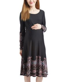 Navy & Pink Damask Maternity Long-Sleeve Swing Dress - Plus Too by GLAM #zulily #zulilyfinds