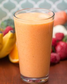 Orange, Mango, & Carrot Smoothie 4 Make-Ahead Veggie-Packed Fruit Smoothies Broccoli Smoothie, Carrot Smoothie, Blackberry Smoothie, Veggie Smoothies, Orange Smoothie, Smoothies With Almond Milk, Fruit Smoothie Recipes, Apple Smoothies, Healthy Breakfast Smoothies
