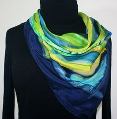 Featured silk scarves and accessories - After the Rain Hand Painted Silk Scarf in Blue, Yellow and Green