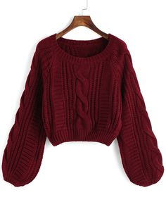 Round Neck Crop Maroon Sweater - Pullovers Sweater - Ideas of Pullovers Sweater Winter Sweaters, Cable Knit Sweaters, Women's Sweaters, Maroon Sweater, Long Sleeve Sweater, Loose Sweater, Cropped Sweater, Cute Casual Outfits, Cardigans For Women