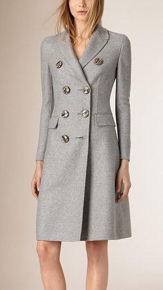 Cinza claro mesclado Casaco trespassado de cashmere com modelagem de alfaiataria - Imagem 1