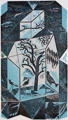 """""""Tropical Bird House"""" by Charles Shearer (collograph) Collage Illustration, Illustrations, Collagraph Printmaking, Royal College Of Art, Tropical Birds, Painting Inspiration, Painting & Drawing, Winter, Art Projects"""