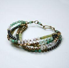 Gypsy Bracelet (5 strand - Green) - Pale Peridot Jade, Sea Green Jade, Picture Jasper, Brass, Hematite, Antique Brass