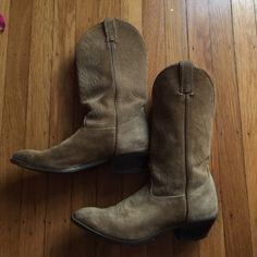 Suede Made in the USA Cowboy Boots Fantastic light tan real suede Cowboy Boots, in great condition. Made in the USA Made in the USA Shoes