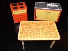 Vintage 1972 Lundby of Sweden Orange and Yellow Kitchen Furniture from Set 9270 Barbie Doll House, Barbie Dolls, Yellow Kitchen Furniture, Toy House, Vintage Dollhouse, Hearth And Home, Doll Houses, Contents, Sweden