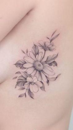 Tattoo Over Scar, Scars Tattoo Cover Up, See Tattoo, Back Tattoo, White Daisy Tattoo, Daisy Flower Tattoos, Gerbera Daisy Tattoo, Daisies Tattoo, Cute Tattoos