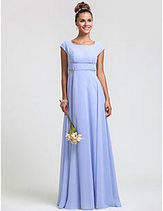 Vestido de Dama de Honor - Rojo/Uva/Azul Real/Champaña/Lavanda Corte Recto Escote Cuadrado - Hasta el Suelo Gasa Tallas grandes