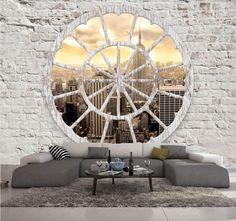 PAPIER PEINT INTISSE TROMPE L OEIL NEW YORK#PHOTO MURALE 3D IMITATION BRIQUE