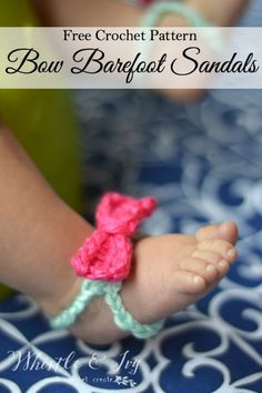 Free Crochet Pattern - Baby Bow Barefoot Sandals