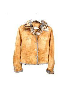 chaqueta camel de piel y conejo de Basarin