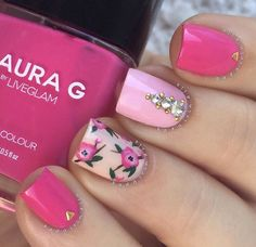 """""""Sheer X Matte X Floral Ring finger inspired by Products used: Vinyl stickers - Whats Up Nails Red polish - Stephanie Winter Crimson Brush -…"""" Great Nails, Cool Nail Art, Simple Nails, Cute Nails, Trendy Nails, Nail Art Designs 2016, Simple Nail Designs, Beautiful Nail Designs, Nail Art Rosa"""