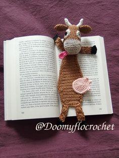 Marque pages vache en coton au crochet : Marque-pages par doomyflo-crochet