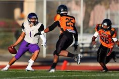 Castlemont quarterback Joe Feao (1) is pressured by McClymond's Ramone Sanders (25) and Jayshaun Thomas (86) in the first half of their Oakland Athletic League game at McClymonds High School in Oakland, Calif., on Friday, Oct. 9, 2015. (Ray Chavez/Bay Area News Group)