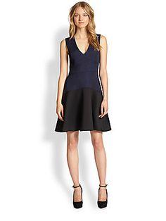 Rebecca Taylor Textured Jacquard-Paneled Fit-&-Flare Dress