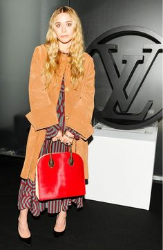 Ashley Olsen's Suede Coat + Printed Dress + Structured Bag