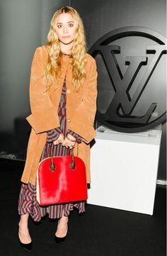 Ashley Olsen's Suede Coat + Printed Dress + Structured Bag