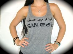 """American Apparel """"SHUT UP AND SWEAT"""" Tri-Blend Racerback Tank In Heather Gray"""