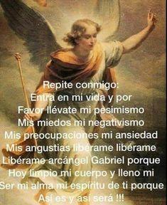 Oracion God Prayer, Prayer Quotes, Daily Prayer, Archangel Prayers, Prayer Images, Spanish Prayers, Gods Love Quotes, Prayers For Healing, Spiritual Prayers
