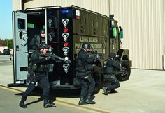 Long Beach P.D. with their Lenco B.E.A.R. armoured vehicle.