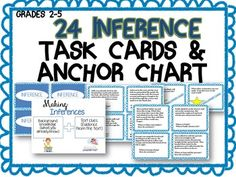 Inference task cards are a very convenient practice for students! Students can work with these cards as a station, paired-selection, or in small group. Perfect for grades 2-5. Sample is included, check out my teacher store for the full file at www.teachpeek.com.Included are:24 Inference task cards 1 Anchor Chart2 Challenge cards for differentiated learningAnswer sheet for student responseAnswer KeyPDF File