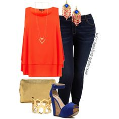 """#plus #size #outfit  """"Plus Size - Hot Orange"""" by alexawebb on Polyvore"""