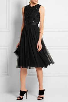 Black crepe and tulle  Concealed zip fastening at back  100% nylon; trim: 93% nylon, 7% elastane; lining: 100% polyester  Dry clean