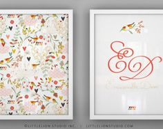 "Birds print set wall art custom name monogram print birds and floral garden wall art - Unframed 11 3/4  x 15 3/4"" - Spring Kimono"