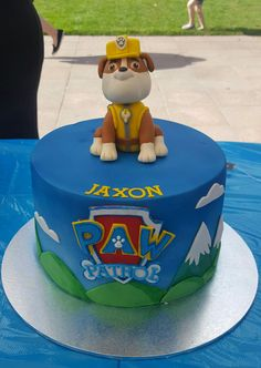 Paw Patrol cake. Rubble cake topper. Rubble on the double