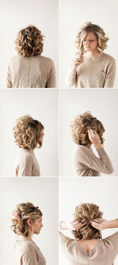 Pretty Updo Hairstyle for Short Curly Hair. For more inbetweenie and plus size style ideas go to www.dressingup.co.nz