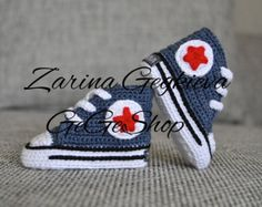 Háčkovanie Detské topánky - topánočky Zlato Converse - Newborn baby shoes - Baby Boy Girl Zlato - Denim Red - Pletené detské tenisky