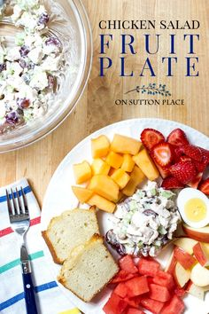 Make this easy Chicken Salad Fruit Plate for summer lunches or dinners. It's the perfect Dinner for Two or the recipe can be adjusted to feed a crowd.