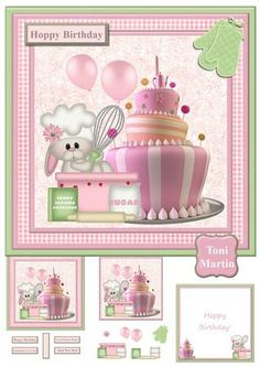 Bunny Crocker Mini Kit Decoupage on Craftsuprint designed by Toni Martin - A 3 page mini kit to make a very special card. Features a cute little bunny with baking equipment by a cake. Includes decoupage layers and a choice of sentiments. A co-ordinating insert is also included. - Now available for download!