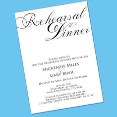 Simplicity Rehearsal Dinner Invitation  by YellowBrickGraphics, $15.00