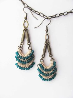 Cream natural cotton beaded earrings, beige cotton, teal blue frosted beads, unique original design, dangle long earrings, antique brass