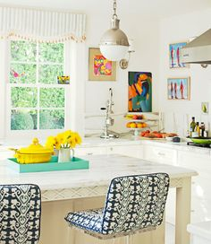 Bright, cheery kitchen.