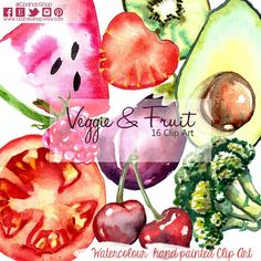 Fruit clipart veggie illustration fruit digital slice of fruit illustration vegetables watercolor clipart fruit hand painted slice tomato
