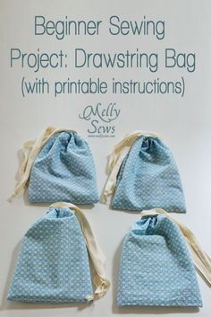 Easy Beginner Sewing Projects: Drawsting Bag with printable instructions