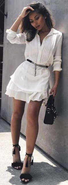 #summer #trends #outfits |  All White + Pop Of Black