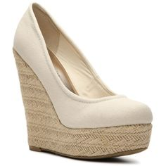 Madden Girl Thicke Wedge Pump ($55) ❤ liked on Polyvore featuring shoes, pumps, wedges, heels, wedge espadrilles, madden girl pumps, espadrille wedge shoes, canvas wedge shoes and canvas espadrilles
