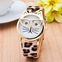 Gato Reloj Con Gafas de Moda Mujer Relojes De Cuarzo Reloj de Mujer 2016 Correa de Cuero Del Relogio Feminino Nueva Caliente montre LZ106