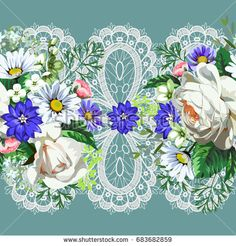 Seamless border with white roses, daisies annbgbgf  nd lacevcanzvz