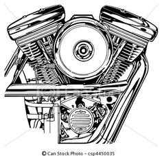 Stock Illustration - Harley V-Twin Engine - stock illustration, royalty free illustrations, stock clip art icon, stock clipart icons, logo, line art, pictures, graphic, graphics, drawing, drawings, artwork