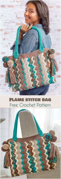 Flame Stitch Bag [Free Crochet Pattern] Tote bag, chevron motif, zig-zag pattern