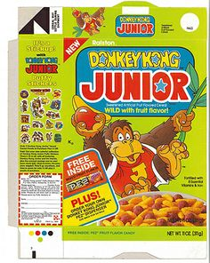 Donkey Kong Junior PEZ cereal box