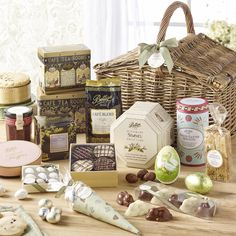 Luxury Easter Hamper | £150.00 | Beautifully presented in a willow picnic basket, this array of Easter creations and Bettys favourites is bound to be the star attraction of everyone's Easter.